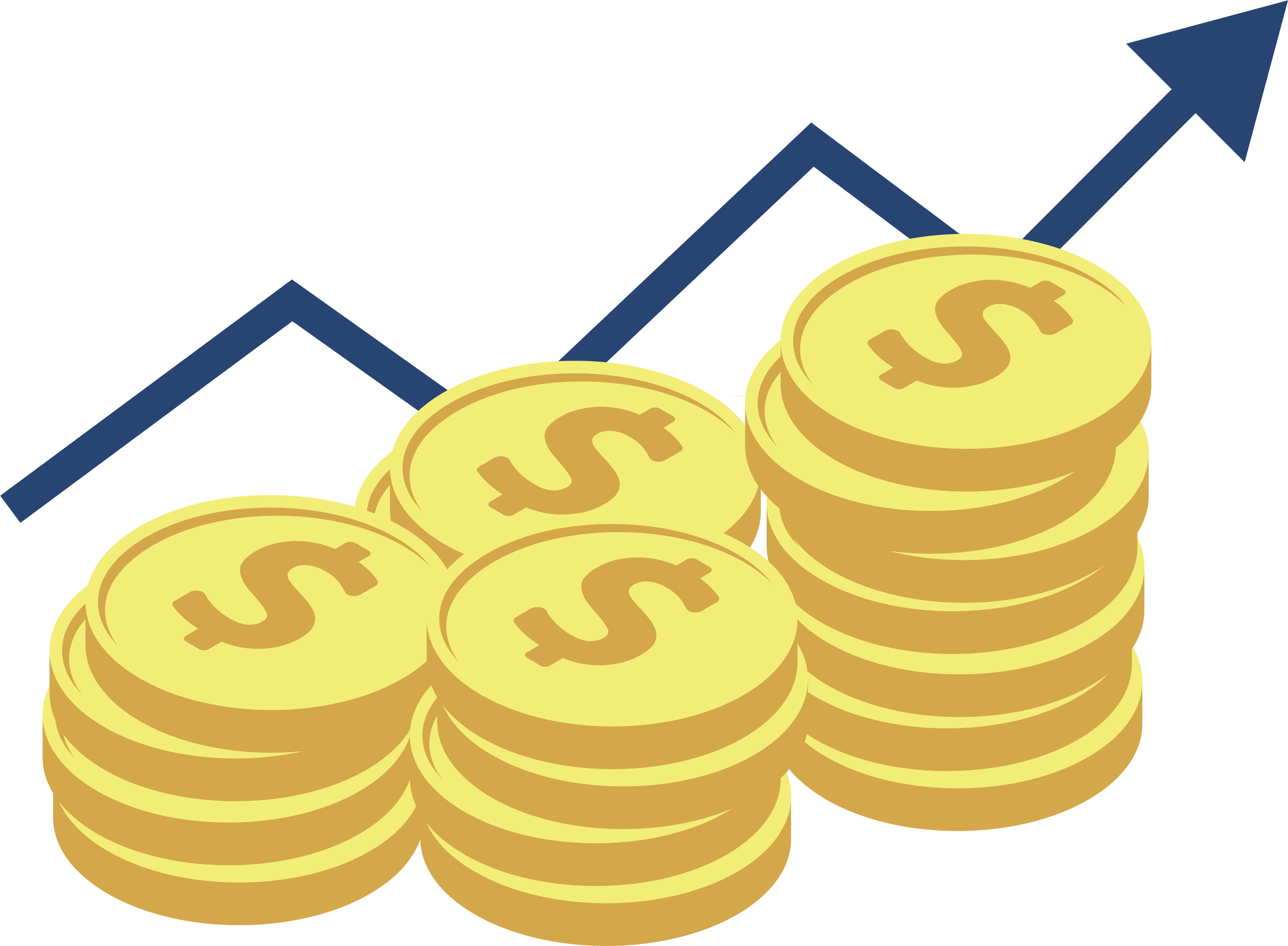 gold coins with arrow
